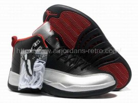 Jordan 12 (XII) Retro Black Silver Red Shoes